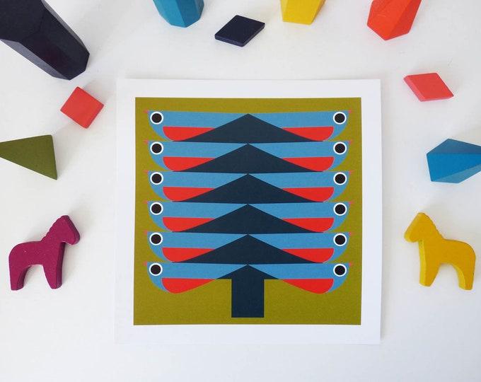 Bird Tree by Jay Kaye 21cm Sq print illustration print