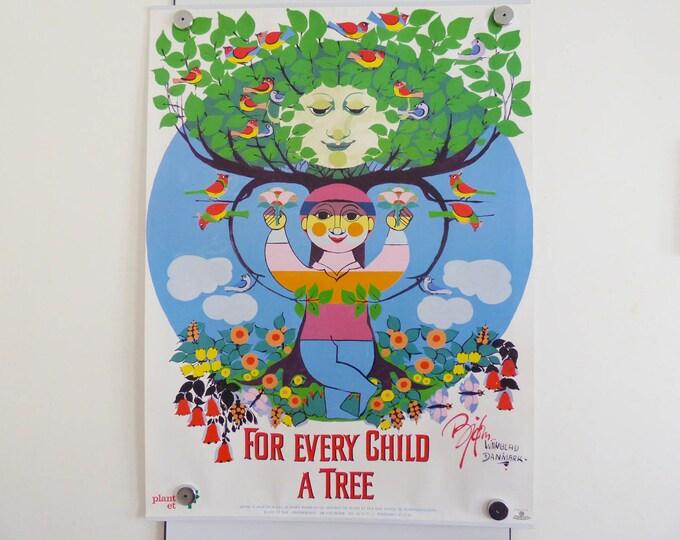 Bjorn Wiinblad Poster For every child a tree Vintage Danish modernist print
