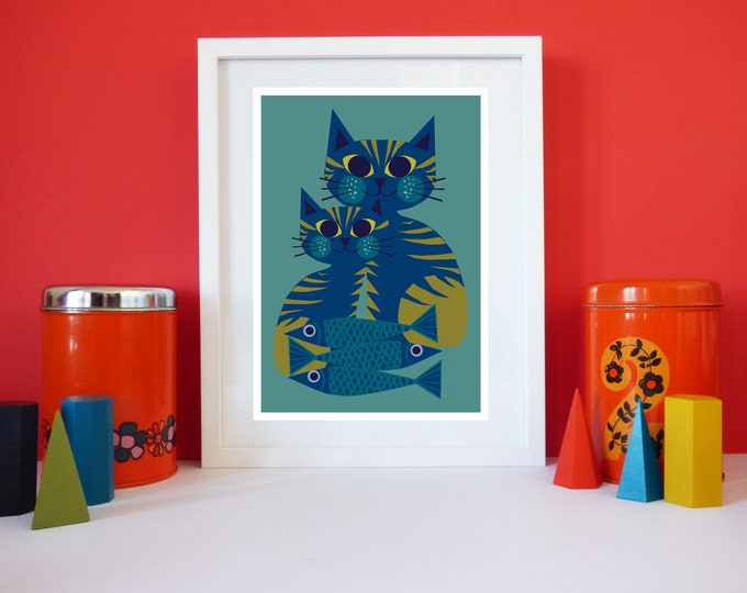 Todays Catch A4 or A4 sized print by Cat crazy Jay Kaye