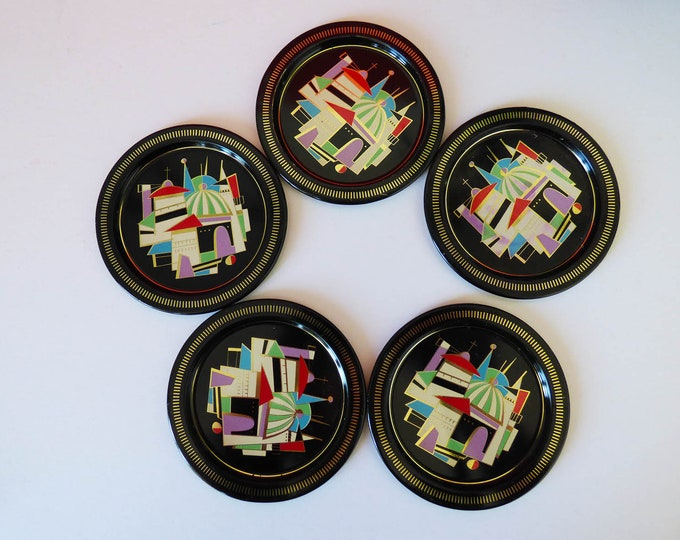 Metal vintage tin coasters 1960s