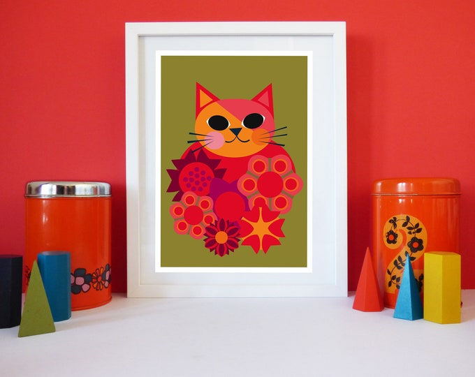 Cat Amongst the Flowers by Jay Kaye A4 or A3 sized print cat kitty bright