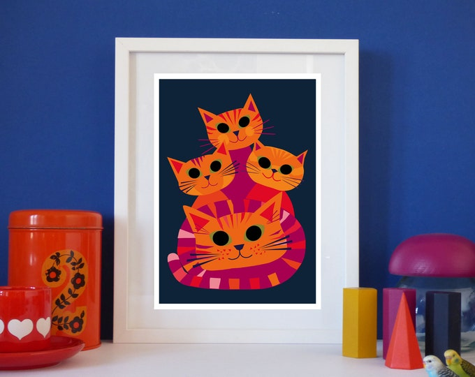 Doris and her Kittens by Jay Kaye  A3 or A4 Sized print