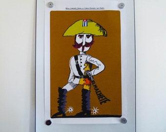Original poster Eduardo Munoz Bachs 1975 Cuban Movie Poster El Machete Juan Padron