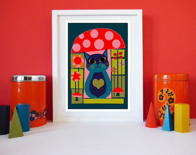Toadstool Cat print by Jay Kaye A4 or A3 sized print