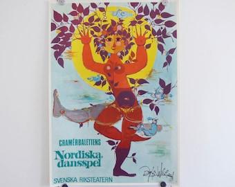 Bjorn Wiinblad Poster Nordic Dansspel, 1967  Vintage Danish modernist print