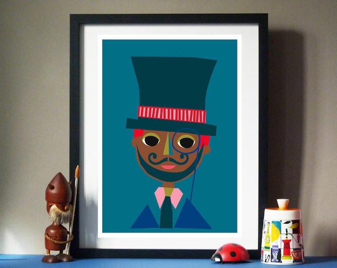 Mr Hat Man by Jay Kaye  A3 or A4 sized print print Bright Colourful print wall Art Fun