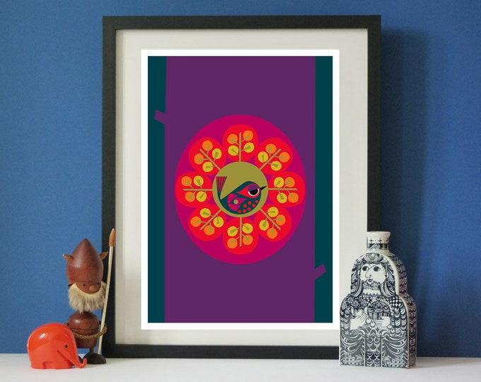 Home a little bird print by Jay Kaye A4 or A3 sized print  Scandinavian modernist Style