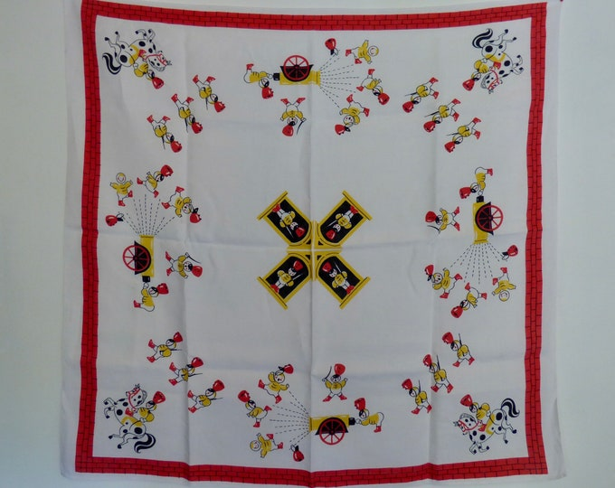 Vintage tablecloth featuring toy soldier design