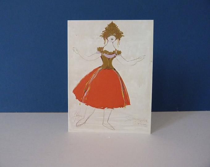 Bjorn Wiinblad Greetings card Costume Goddess of Folly