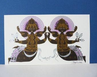 Bjorn Wiinblad Twin Angel's  Large Greetings card