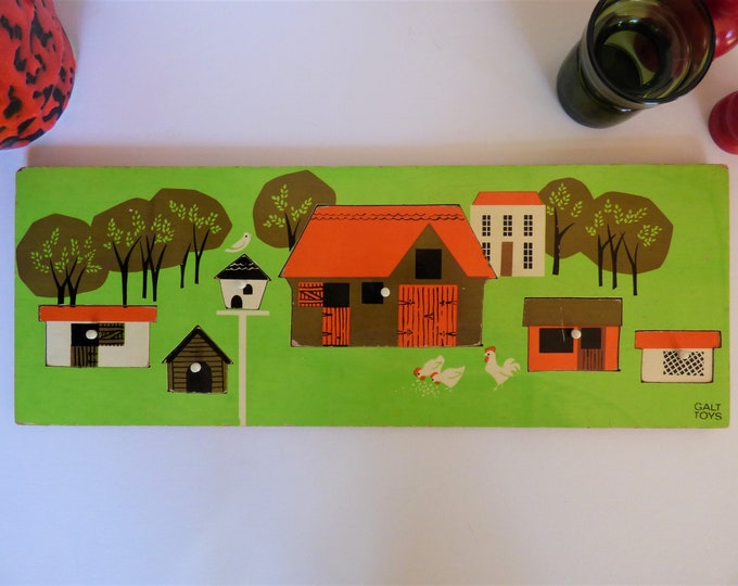Vintage wooden Galt traffic tray jigsaw puzzle The Farm