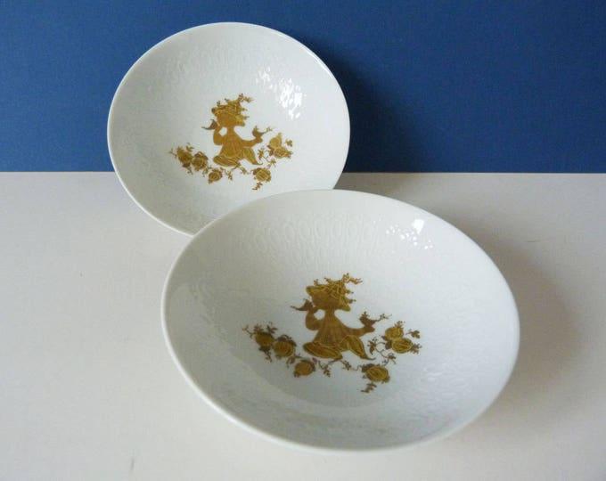 2 x Bjorn Wiinblad Rosenthal Studio Line Romanze Dishes Gold Figures Germany