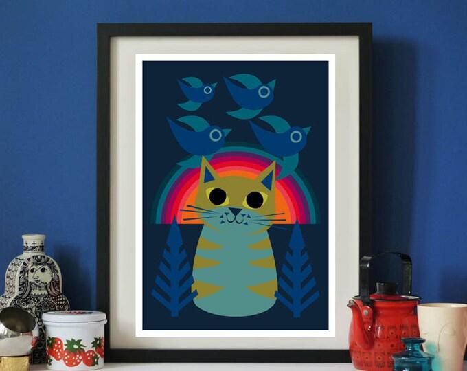 Rainbow Cat A3 print by Jay Kaye