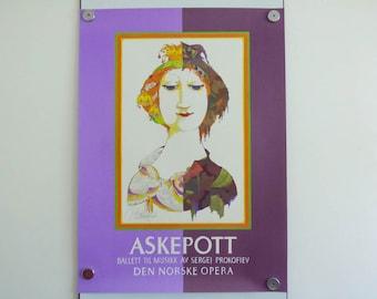 Bjorn Wiinblad Poster Cinderella Ballet Oslo 1985