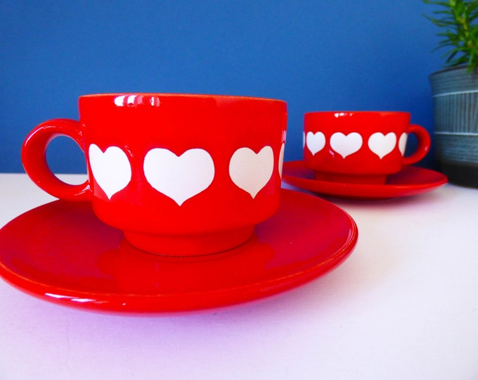 Vintage Waechtersbach cups and saucers heart design