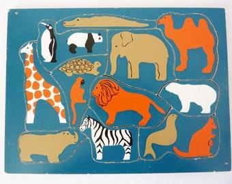 Vintage wooden  zoo puzzle
