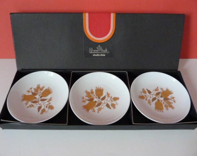 3 x Bjorn Wiinblad Rosenthal Studio Line Romanze Pin Dishes Gold  Germany