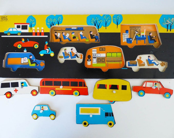Galt Traffic Tray Jigsaw Puzzle Vintage wooden MCM Retro