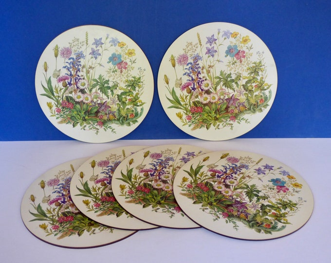 Placemats melamine corked backed Vintage flower power