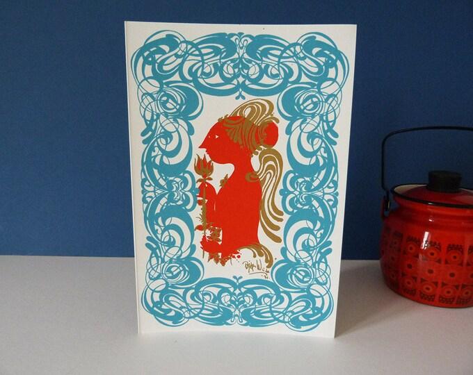 Bjorn Wiinblad Red Angel 1971 Original Greetings card