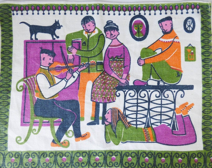 Vintage Scandinavian cotton printed place mat wall hanging