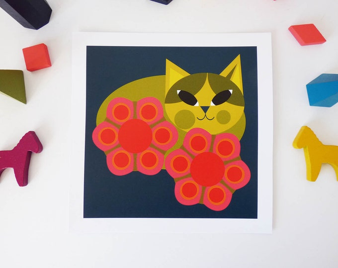 Pansy cat by Jay Kaye 21cm Sq print cat kitty flower power illustration
