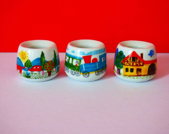 3 x Funny designs mini candle stick holders made in west Germany