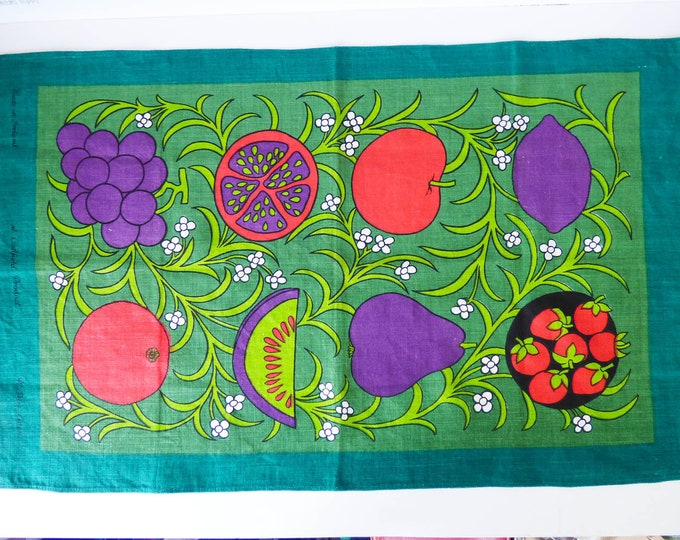 Vintage 1970's flower power fruit tea towel