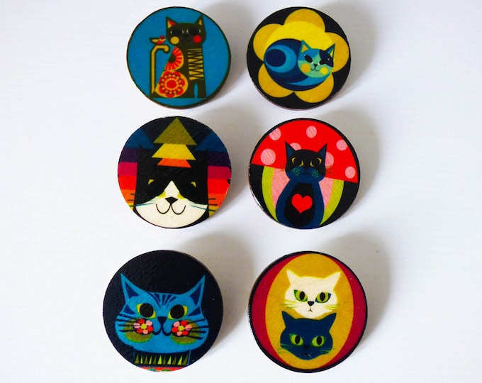 Wooden Cat Brooches by Jay Kaye unique quirky gift