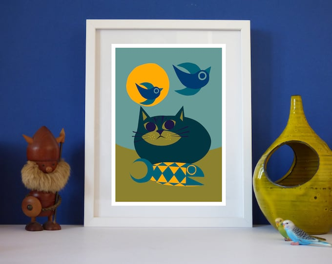 Beach cat by Jay Kaye A4 or A3 print Bright Colourful print