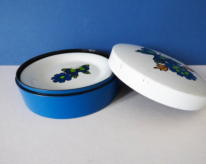 Vintage Butterfly Coasters with Storage pot