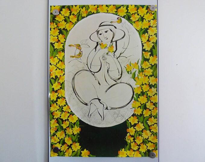 Bjorn Wiinblad print poster daffodil lady 1980's