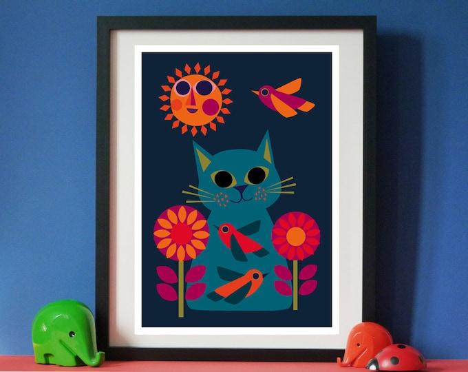 Daisy Bird Cat A4 sized print by Jay Kaye