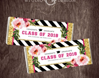 2018 GRADUATION HERSHEY Bar WRAPPER Kate Chocolate Clutch Black Stripe Gold Glitter Floral  --  Instant Download
