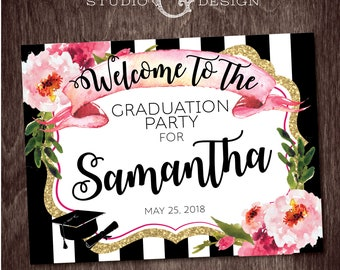 GRADUATION WELCOME SIGN Black Stripe Gold Glitter Floral Kate  --  Personalized Digital Printable File