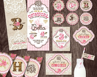 EQUESTRIAN Horse Invite COWGIRL Birthday Party INVITATION Package -- Burlap and Lace Pink Gold  --  Personalized Printable Digital files