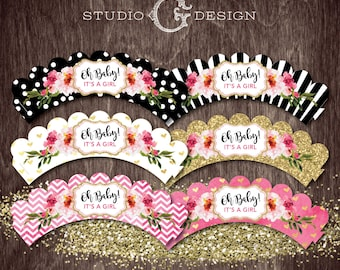 CUPCAKE WRAPPERS Its a GIRL Black Stripe Gold Glitter Kate Floral  --  Instant Download Digital Printable File