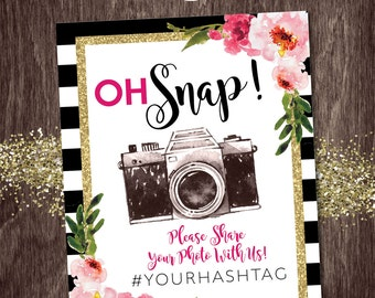OH SNAP SIGN Hashtag Photo Sharing Black Stripe Gold Glitter Floral Kate  --  Bridal Shower Baby Shower Birthday Party