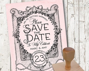 Wedding Save the Date Rubber Stamp VINTAGE FLORAL FRAME Rustic Country