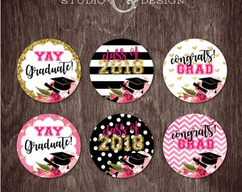 GRADUATION CUPCAKE TOPPERS Black Stripe Gold Glitter Floral Kate  --  Instant Download