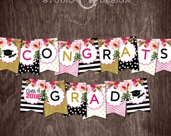 2018 GRADUATION Banner Kate Black and White Stripes Gold Glitter Flowers --  Instant Download Print File