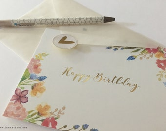 Happy Birthday Greeting Card in Gold Foil