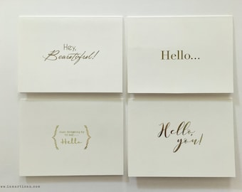 Hello Greeting Cards in Gold Foil (Set of 4)