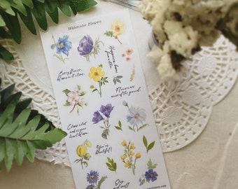 Watercolor Flowers Sticker Sheet
