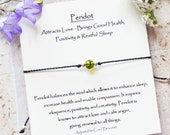 Peridot bracelet, August birthstone peridot bracelet, Green gemstone bracelet made with adjustable cord w meaning card breakup support gift