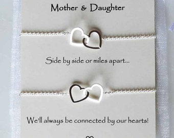 Mothers Day Gift Set Mother Daughter Linked Hearts Bracelet Thank You Mom Birthday