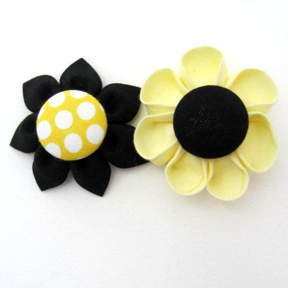 Lot de 2 Magnets fleur en jaune et noir tournesol, aimants pour réfrigérateur, magnétique, fleur en tissu, fleur Kanzashi, Bulletin Board aimant