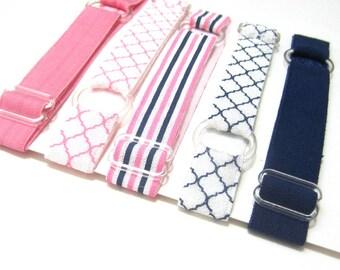 Set of 5-Pink & Navy Adjustable Headband, Baby Headband, Adult Headband, Toddler Headband, Infant Headband, Hair Band, Sport Headband