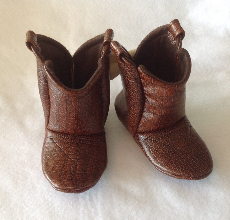 Brown Leather Baby Cowboy Boots  Preemie up to 24 Month in image 0