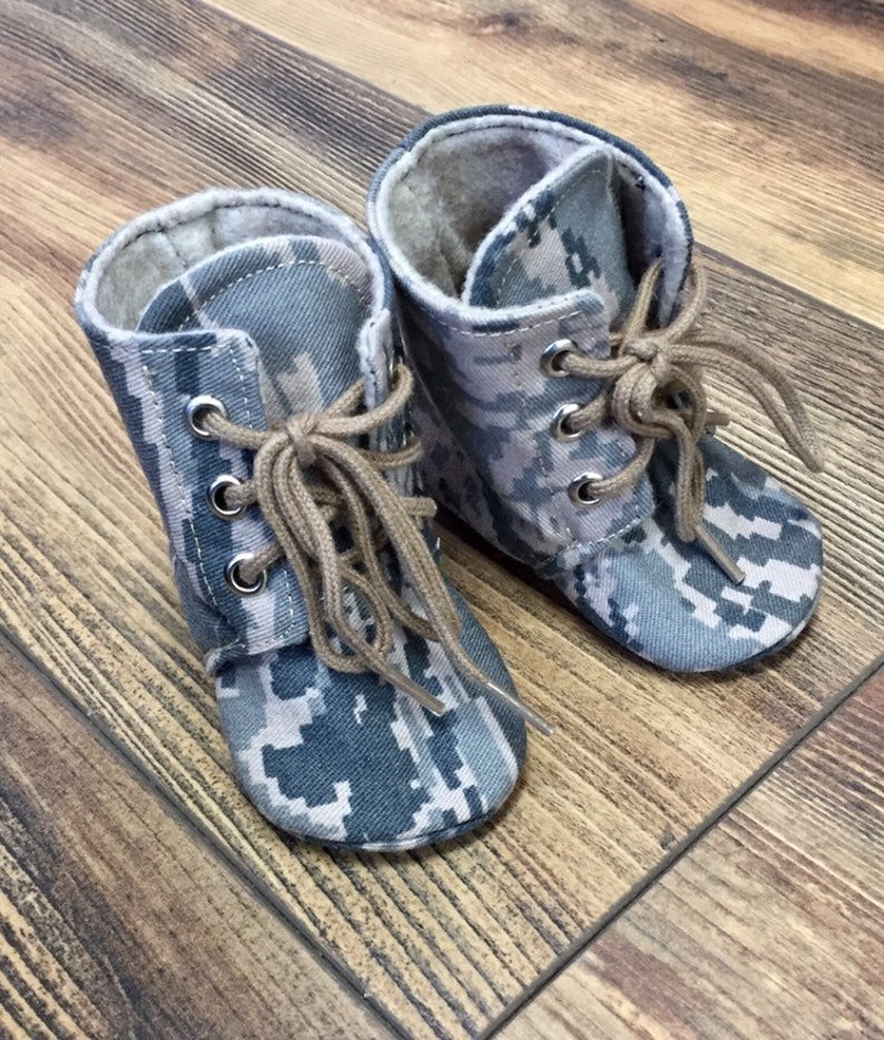Air Force Baby Combat Boots  Military Camo  Newborn size up image 0